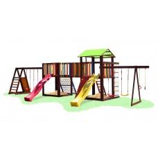 Детский деревянный уличный Комплекс-площадка из сосны: домик с мостиком и 2 скалолазками 1080х460х310см 61540
