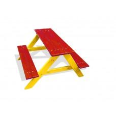 Деревянный прямоугольный Стол с 2 лавками для детской площадки или дачи, цвет: рябина, груша 90х100х70см 61610