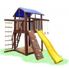 Детский деревянный уличный Комплекс-площадка из сосны: домик, песочница, горка, качели 330х315х310см 61471