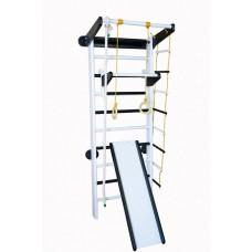 Спортивный уголок из сосны с 2 турниками, кольцами, лестницей, канатом и горкой 60х102х225см черно-белый 61311