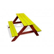Деревянный Стол прямоугольный с 2 лавками для детской площадки или дачи, цвет: желтый 90х100х70см 61611