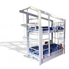 Детская Двухъярусная кровать из сосны с ящиками, пиратской сеткой и навесным турником 204х84х235см белый 61431