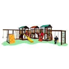 Детский Большой деревянный уличный Комплекс из сосны: 3 домика с мостиками и песочницами 600х780х310см 61582