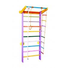Спортивный уголок из сосны с турником, кольцами лестницей для дома и спортзала 60х102х225см разноцветный 61302