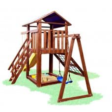 Детский деревянный уличный Комплекс-площадка из сосны: домик, песочница, горка, сетка, качели 508х328см 61472