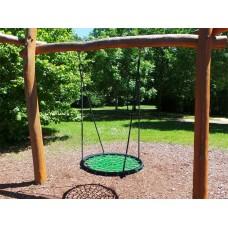Подвесные Качели Гнездо аиста D=100см для детей и взрослых для уличных площадок, цвет: зеленый+черный 61622