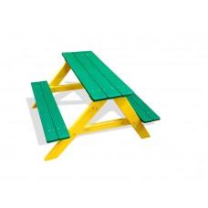 Деревянный Стол прямоугольный с 2 лавками для детской площадки или дачи, цвет: зеленый 90х100х70см 61612