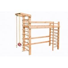 Детская двухъярусная Кровать-чердак из сосны со шведской стенкой и спортивными аксессуарами 250х87х225см 61363