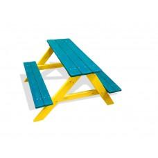 Деревянный Стол прямоугольный с 2 лавками для детской площадки или дачи, цвет: синий 90х100х70см 61613