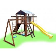 Детский деревянный уличный Комплекс-площадка из сосны: домик, песочница, 2 качели, скалолазка 330х310см 61473