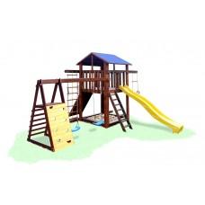 Детский деревянный уличный Комплекс-площадка из сосны: домик, песочница, 2 качели и скалолазки 330х310см 61604