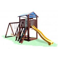 Детский деревянный уличный Комплекс-площадка из сосны: домик, песочница с крышкой, 2 качели 330х310см 61474
