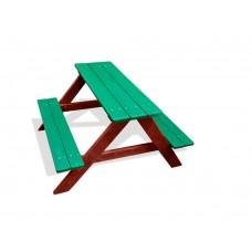 Деревянный Стол прямоугольный с 2 лавками для детской площадки или дачи, зеленый, коричневый 90х100х70см 61614