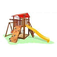 Детский деревянный уличный Комплекс-площадка из сосны: домик, песочница, горка 504х300см тонировка: Дуб 61595