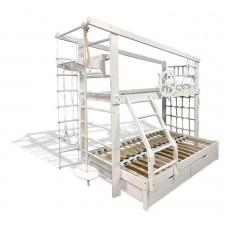 Детская Двухъярусная трехспальная кровать из сосны с ящиками, сеткой и турником 204х204х235см белый 61646