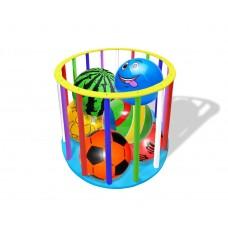 Деревянная Корзина-Стойка для хранения мячей из фанеры с буковыми перекладинами, разноцветная 93х70см 61606
