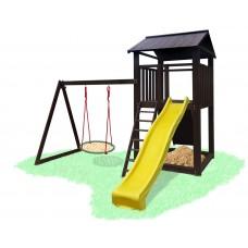 Детский деревянный уличный Комплекс-площадка из сосны: домик, горка, качели Гнездо аиста 330х310см 61496