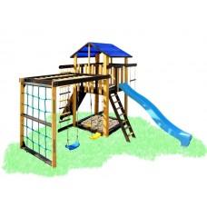 Детский деревянный уличный Комплекс-площадка из сосны: домик, горка, рукоход скалолазка 330х310см желтый 61476