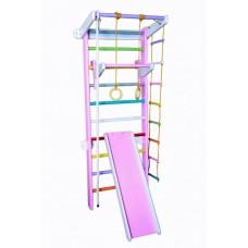 Спортивный уголок из сосны с 2 турниками, веревочным набором 60х102х225см, цвет основы и горки: розовый 61306