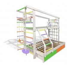 Двухъярусная спортивная кровать Капитан с увеличенным спальном местом с ящиками и навесными элементами цветная 61647