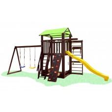 Детский деревянный уличный Комплекс-площадка из сосны: домик, песочница, горка, скалолазка 330х310см 61507