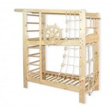Детская Двухъярусная кровать из сосны с ящиками, пиратской сеткой и турником 204х84х235см натуральный 61407