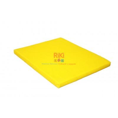 Гимнастический прямой мат для домашних тренировок и детских спортивных комплексов 100х120х8см желтый 61328