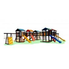 Детская уличная деревянная площадка: игровые домики с мостиками, скалолазками и качелями 1650х1400х310см 61588