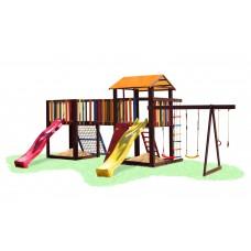 Детский деревянный уличный Комплекс-площадка из сосны: домик с мостиком, песочница, качели 780х460х310см 61538