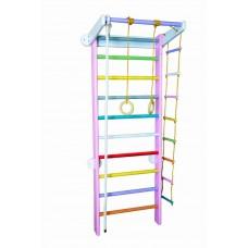 Спортивный уголок из сосны с веревочным набором для дома и спортзала 60х102х225см, цвет основы: розовый 61298