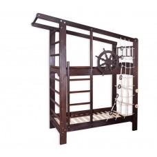 Детская Двухъярусная кровать из тонированной сосны с ящиками, пиратской сеткой и турником 204х84х235см 61419