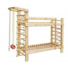 Детская двухъярусная кровать из сосны со шведской стенкой и спортивными аксессуарами 250х87х225см 61389
