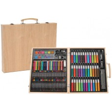Набор для рисования и творчества детский на 131 предмет в деревянном чемодане-кейсе 38x33x5 см