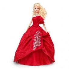 Коллекционная Кукла Барби Праздничная в красном платье из атласа, жаккарда 2012 года - Barbie Happy Holidays