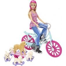 Кукольный набор Кукла Барби на велосипеде с питомцами Barbie Spin 'N Ride Pups