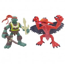 Набор мини-фигурок Рафаель и Крылатый Динозавр - Raphael and Winged Dino, Mini Mutants, 4Kids, 7СМ, Playmates