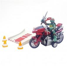Набор Рафаэль на мотоцикле Черепашки Ниндзя с оружием кинжалы Саи высота 7 см - Raphael and motocycle Playmates