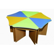 Модульный Комплект Лепесток из 6 приставных столиков для детского сада для игр и занятий 70х70х46/52/58 см