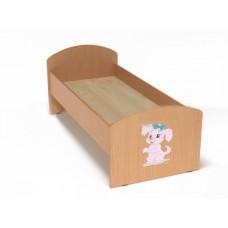 Кровать с рисунком для детей одноместная ясельная с безопасными бортиками, из ЛДСП, цвет бук 140х60 см