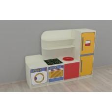 Игровая Стенка-Кухня для детсадов с плитой, раковиной, ящиками и полками для игрушечной посуды 160х42х120 см 61700-19 W348