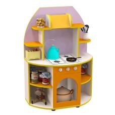 Игровая Стенка-Кухня для детских садов со шкафом-плитой и полками для хранения игрушек и посуды 80х40х115 см 61710-19 W358
