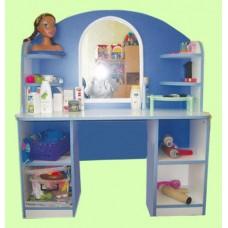 Стенка-Парикмахерская Золушка для детских садов: туалетный столик с зеркалом, полками для мелочей 105х35х120см 61720-19 W368