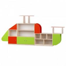 Игровая Стенка Вертолет для детского сада с полками и ящиками для игрушек и методических пособий 320х48х168 см
