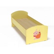 Кровать с рисунком для детей одноместная ясельная с безопасными бортиками, из ЛДСП, цвет желтый 140х60 см