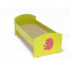 Кровать с рисунком для детей одноместная ясельная с безопасными бортиками, из ЛДСП, цвет салатовый 140х60 см 61741-19 W48