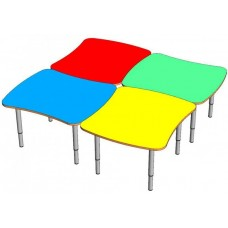Модульный Комплект для детского сада из 4 прямоугольных столов для игр и занятий творчеством 80х70х46/52/58 см