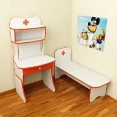 Игровая Стенка Больница для детсадов: медицинский стол с полками и кушеткой для сюжетных игр 100х120х125 см 61691-19 W339