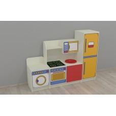 Игровая Стенка-Кухня для детских садов с полкой и ящиком-микроволновкой для сюжетно-ролевых игр 160х42х120 см 61701-19 W349