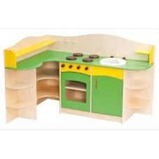 Угловая Стенка-Кухня для детских садов с зоной для приготовления, ящиками для хранения игрушек 120х90х90 см 61711-19 W359