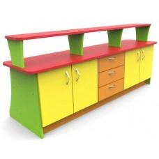 Игровая Стенка-Стойка с полками, шкафом и ящиками для хранения игрушек и методических материалов 180х75х77 см 61731-19 W379